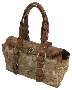 Coach Signature Leather Braided Casual Satchel in Tan & Brown