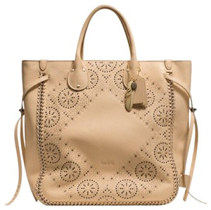 Coach Limited Edition Studded Hand-lacing Details Tote in Nude