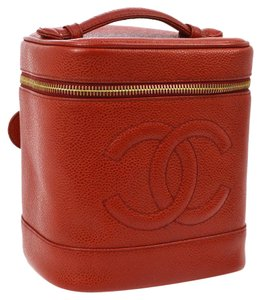 Chanel Red Caviar Leather Vanity Case 214076