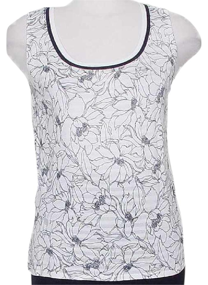 fb61f5c0d3 Dana Buchman White Blue Floral Stripe Fine Knit Reversible Shell L Tank  Top/Cami Size 12 (L) 62% off retail