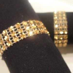 150 Gold Napkin Rings Rhinestone Style Wedding Decoration