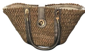 Michael Kors Santorini Cornhusk Tote in Natural Straw Bronze Leather