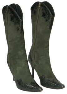 Donald J. Pliner Patent Leather Suede Western Peace Statement Olive Boots