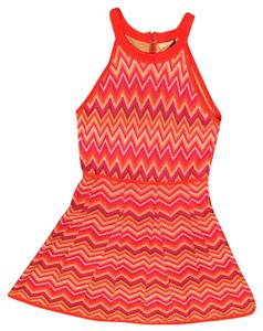 Trina Turk short dress Multi pink orange Sleeveless Halter Sprap Chevron on Tradesy