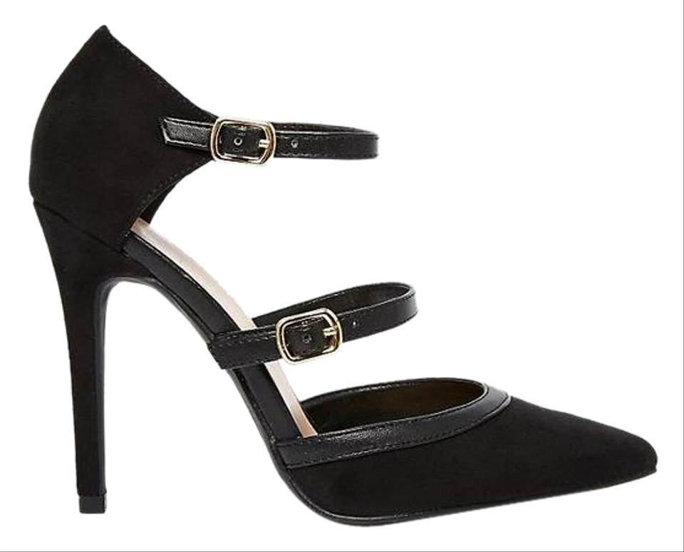073e891871cb76 New Look Black Double Strap Heeled Court Pumps Size US 9 Regular (M ...