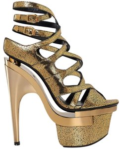 Versace Leather Gold Platforms