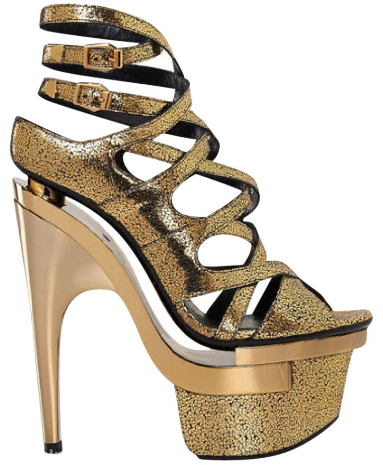 5b299a40aa4c Versace Gold New Leather Triple Sandals 38 - Platforms Size US 8 ...