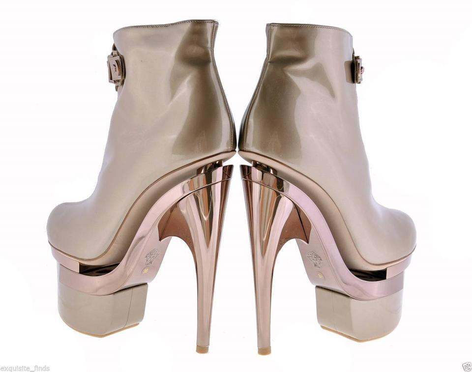 e65217ac99c1 Versace Rose Gold New Triple Platform Leather 38 - Boots Booties ...