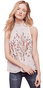 Anthropologie Top Off White with colored flowers