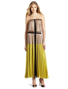 Nude and Lime Colorblock Maxi Dress by BCBGMAXAZRIA