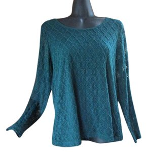 Chico's Lace Spring Formal Knit Blue Top Teal