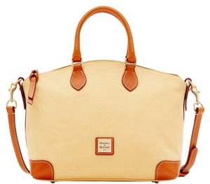 Dooney & Bourke & Linen Canvas Leather Satchel in YELLOW