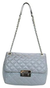 Michael Kors Leather Laced Chain Silver Hardware Quilted Shoulder Bag