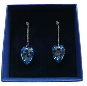 Swarovski NEW in box: Aqua blue drop heart earings