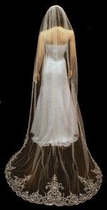 Extra Wide Cathedral Length Wedding Veil With Beaded Fingertip Blusher