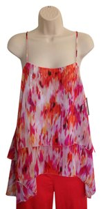 a.n.a. a new approach Nwt Chiffon Magenta Top Orange, Pink, White & Yellow