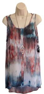 a.n.a. a new approach Nwt Large Polyester Machine Washable A.n.a. Top Teal, Rust & White