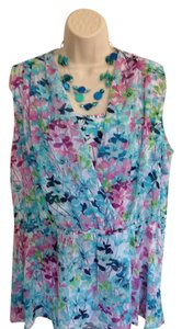 St. John Nwt Extra Large Floral Polyester Top Blue, Pink & White