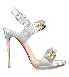 Christian Louboutin Miziggoo Stiletto Spike Metallic Ankle Strap Silver Pumps