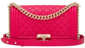 Chanel Flap Cc Pink Fuchsia Boy Shoulder Bag