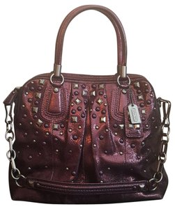 Coach Satchel in Purple/Metallic