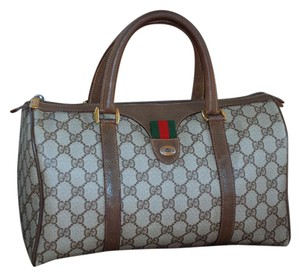 Gucci Accessory Collection Made In Italy Monogram Satchel in Brown