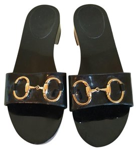 Gucci Horse Bit Black Patent Leather Sandals