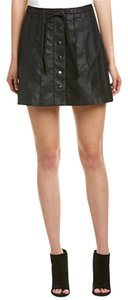 Free People Leather Urban Chic Down Mini Skirt Black