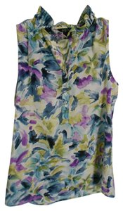 J.Crew Ruffle Work Night Out Top Blue, Purple, and Green floral print