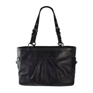 Coach Leather Pleated Silver Hardware Ashley Gallery Tote in Black