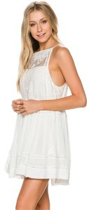 Free People short dress Cream Crochet Boho Bohemian Lace Embroidered on Tradesy