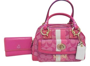 Coach Heritage Stripe Signature Wallet Tote in Pink