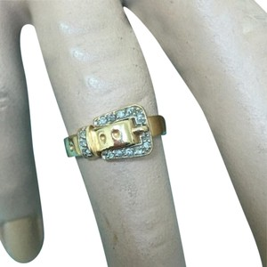 14k yellow gold with diamonds buckle ring 14k real gold and diamond buckle ring