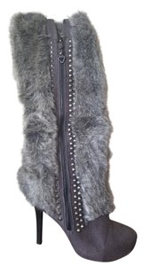 Me Too Studded Fur Suede Gray Boots