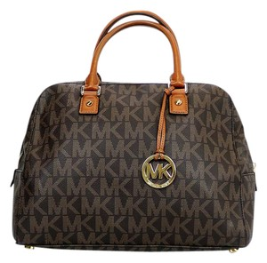 Michael Kors Large Mk Hangtag Monogram Satchel in Brown