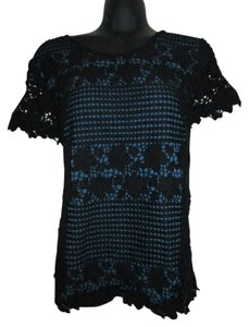 Ann Taylor LOFT Lace Layered Formal Spring Evening Top Black & Blue