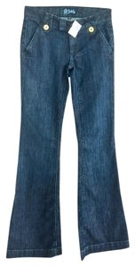 Anlo Gold Buttons Flare Leg Jeans-Dark Rinse