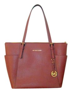Michael Kors Jet Set Saffiano Leather Tote in Brick