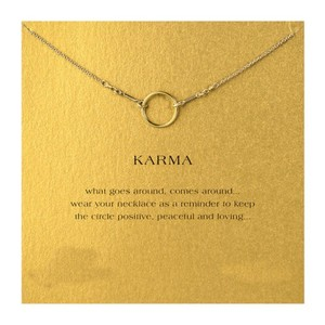 Other DF10 18K Gold Dipped Karma Interlocking Circle Bit Necklace With Card