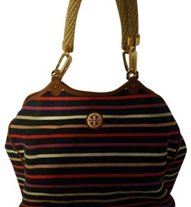 Tory Burch Tote in Navy with colored stripes