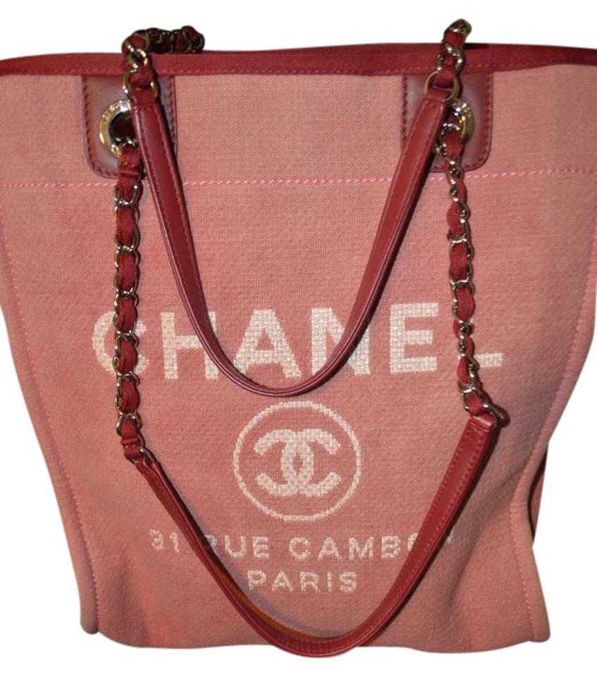62ef5f37f765 Chanel Deauville Bag Canvas Small Excellent Pink/Red Tote - Tradesy