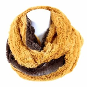 Other B105 Reversable Dual Side Brown Camel Fluffy Super Soft Faux Fur Infinity Scarf