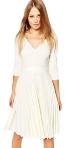 ASOS short dress Off-White Pleated Midi V-neck on Tradesy