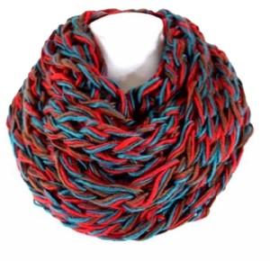 Other B51 Eternity Knit Loose Chunky Weave Red Brown Teal Infinity Scarf