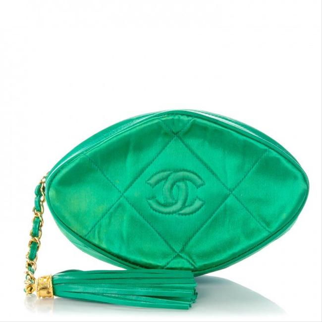 Item - Rare Vintage Quilted Cc Tassel Green Satin / Leather Clutch