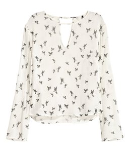 H&M Black Print Top White/Birds