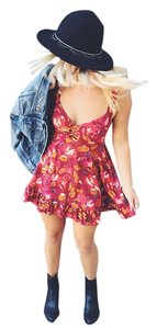 Free People short dress Red Floral Cut-out Ruffle Smocked Corset on Tradesy