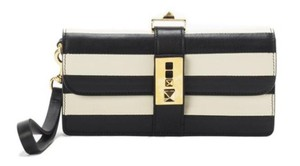 Valentino NEW! B-Rockstud Striped Leather Wristlet Wallet