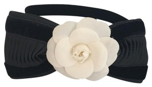Chanel Chanel Ecru Camellia Black Bow Headband