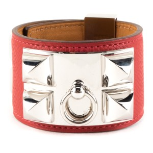 Hermès Hermes red and palladium 'Collier de Chien' cuff bracelet